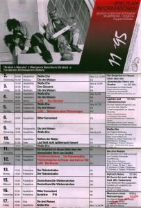 Repertuar Deutsch-Sorbisches Volkstheater Bautzen/Němsko-Serbske Ludowe Dźiwadło Budyšin z wyróżnioną m.in.: sztuką Tadeusza Różewicza pt. Weiße Ehe (Białe małżeństwo) w reżyserii Franka Matthusa, 1995 r. (awers)