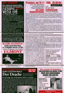 Repertuar Deutsch-Sorbisches Volkstheater Bautzen/Němsko-Serbske Ludowe Dźiwadło Budyšin z krótkim opisem m.in.: sztuki Tadeusza Różewicza pt. Weiße Ehe (Białe małżeństwo), 1995 r. (rewers)