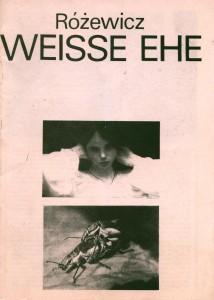 Okładka programu sztuki Weisse Ehe (Białe małżeństwo) T. Różewicza, Kleisttheater, Frankfurt (Oder) [1985] r.