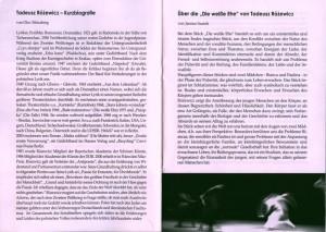 Programu sztuki pt. Die Weisse Ehe (Białe małżeństwo) von Tadeusz Różewicz, reżyseria Janina Szarek, Teatr Studio am Salzufer – polsko-niemiecka scena w Berlinie – deutsch-polnische Studiobühne in der Bundeshauptstadt, Berlin 2004 r.
