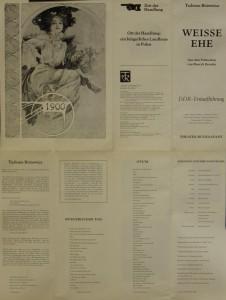 Weisse Ehe (Białe małżeństwo) - program wydany z okazji premiery sztuki T. Różewicza w Niemieckiej Republice Demokratycznej, reżyseria Martin Meltke i Herbert Olschok, Theater Rudolstadt, 1978 r. (awers)
