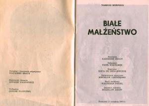 Strona tytułowa programu sztuki pt. Białe małżeństwo Tadeusza Różewicza, w reżyserii Kazimierza Brauna, Teatr Współczesny we Wrocławiu, 1975 r.