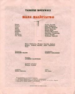 Obsada aktorska Teatru Wybrzeże, zamieszczona w programie wydanym z okazji premiery sztuki pt. Białe małżeństwo T. Różewicza, w reżyserii Ryszarda Majora, 1976 r.