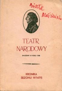 Okładka Kroniki sezonu 1974/75 Teatru Narodowego, Warszawa 1975 r.