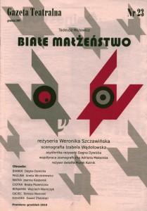 Tadeusz Różewicz Białe małżeństwo – okładka Gazety Teatralnej nr 23 z grudnia 2010 r.