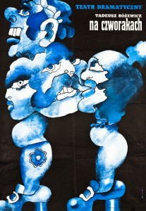 Na czworakach, Teatr Dramatyczny w Warszawie, aut. plakatu: Waldemar Świerzy, 1972 r.
