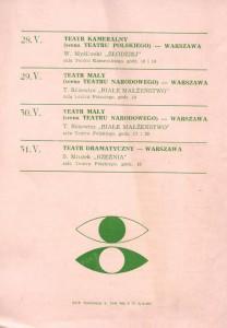 Ulotka z repertuarem wystawianych sztuk podczas XVI Festiwalu Polskich Sztuk Współczesnych we Wrocławiu, 1975 r. (rewers)