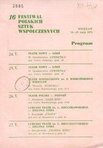 Ulotka z repertuarem wystawianych sztuk podczas XVI Festiwalu Polskich Sztuk Współczesnych we Wrocławiu, 1975 r. (awers)
