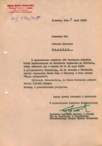 Oficjalne zaproszenie Tadeusza Różewicza, wystosowane przez Komitet Organizacyjny XVI Festiwalu Polskich Sztuk Współczesnych, w którym poinformowano autora sztuki, o udziale Teatru Małego z Warszawy, wystawiającego podczas festiwalu jego sztukę pt. Białe małżeństwo, Wrocław 1975 r.