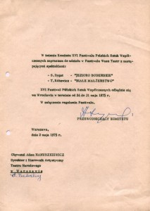 Zaproszenie Teatru Małego (scena Teatru Narodowego) na XVI Festiwal Polskich Sztuk Współczesnych, Wrocław 1975 r.