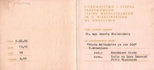 Zaproszenie dla Danuty Wielebińskiej na 200 przedstawienie sztuki T. Różewicza pt. Białe małżeństwo (reżyseria Kazimierz Braun), Teatr Współczesny we Wrocławiu, 1976 r.