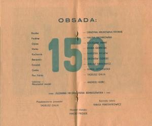 Obsada aktorska, biorąca udział w 150 przedstawieniu sztuki T. Różewicza pt. Białe małżeństwo, w reżyserii Kazimierza Brauna (Teatr Współczesny we Wrocławiu), zamieszczona w okolicznościowym programie spektaklu, 1976 r.