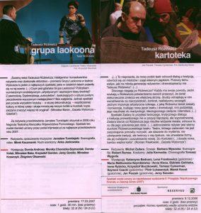 Sztuka pt. Kartoteka T. Różewicza, w reżyserii Michała Zadara, w informatorze projektu pt. Różewicz rozrzucony wrocławskiego Teatru Współczesnego i krakowskiego Teatru Nowego, realizowanego w ramach obchodów Roku Tadeusza Różewicza, 2011 r.