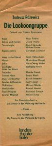 Niemieckojęzyczny informator sztuki T. Różewicza pt. Die Laokoongruppe (Grupa Laokoona), w reżyserii Klausa Fiedlera, Landes Theater Halle, [Berlin 1975 r.]