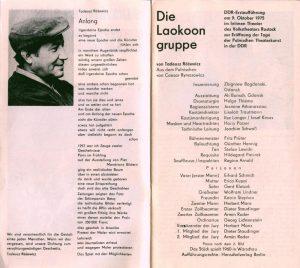 Obsada aktorska zamieszczona w programie sztuki Tadeusza Różewicza pt. Die Laokoonegruppe (Grupa Laokoona), reżyseria Zbigniew Bogdański, Volkstheater Rostock, 1975 r.