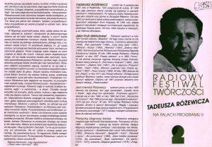 Program Radiowego Festiwalu Twórczości Tadeusza Różewicza na falach Programu II, 1994 r.