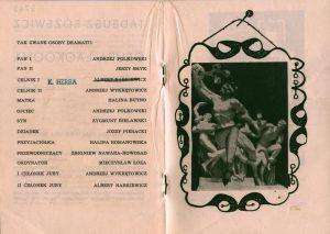 Obsada aktorska sztuki Tadeusza Różewicza pt. Grupa Laokoona (reżyseria Wanda Laskowska), zamieszczona w programie spektaklu, Państwowy Teatr Dramatyczny we Wrocławiu (Scena Kameralna), oprac. graf.: Wanda Gołkowska, 1963 r.