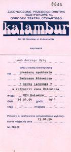Zaproszenie dla Jerzego Ryby na premierę spektaklu pt. Grupa Laokoona Tadeusza Różewicza, w reżyserii brata poety Jana Różewicza, Ośrodek Teatru Otwartego Kalambur, Wrocław 1994 r.
