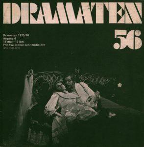 Okładka szwedzkiego miesięcznika Dramaten 56 z omówieniem sztuki Tadeusza Różewicza pt. Vitt äktenskap (Białe małżeństwo), 1976 r.