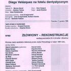 Obsada aktorska sztuki Tadeusza Różewicza pt. Francis Bacon czyli Diego Velázquez na fotelu dentystycznym, przygotowanej na 31 Festiwalu Polskich Sztuk Współczesnych we Wrocławiu przez Teatr Studio z Warszawy, w reżyserii Jerzego Grzegorzewskiego, zamieszczone w programie festiwalu, 1998 r.