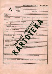 Okładka programu sztuki pt. Kartoteka T. Różewicza, w reżyserii Krystyny Meissner, Teatr im. Wilama Horzycy w Toruniu, oprac. graf. programu: Anna Oziewicz-Zawadzka, 1983 r.
