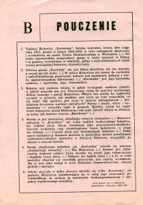 Program sztuki pt. Kartoteka T. Różewicza, reżyseria Krystyna Meissner, Teatr im. Wilama Horzycy w Toruniu, oprac. graf. programu: Anna Oziewicz-Zawadzka, 1983 r.