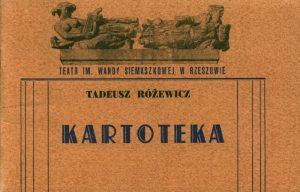 Okładka programu sztuki pt. Kartoteka T. Różewicza, Teatr im. Wandy Siemaszkowej w Rzeszowie, oprac. graf. programu: Jerzy Biernat, 1971 r.