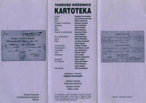 Ulotka (w formie harmonijki) sztuki pt. Kartoteka Tadeusza Różewicza, w reżyserii Zbigniewa Chrzanowskiego, wystawiona w Przemyskim Centrum Kultury i Nauki Zamek przez Polski Teatr Ludowy ze Lwowa, [2002] r. (rewers)