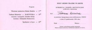Zaproszenie dla Tadeusza Różewicza na premierę jego dramatu pt. Kartoteka, w reżyserii Jarosława Kiliana, wystawianego na deskach Teatru Miejskiego w Gdyni, 1994 r.