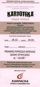 Zaproszenie na spektakl pt. Kartoteka Tadeusza Różewicza, w reżyserii Tomasza Piaseckiego, wystawianego na deskach Tarnowskiego Teatru im. Ludwika Solskiego, [2008] r. (rewers)