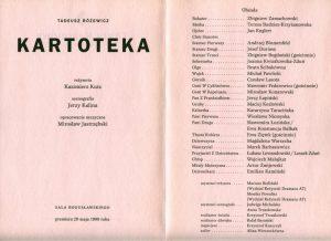 Ulotka z obsadą aktorską sztuki pt. Kartoteka Tadeusza Różewicza, w reżyserii Kazimierza Kutza, wystawianej przez Teatr Narodowy (sala Bogusławskiego), Warszawa 1999 r.