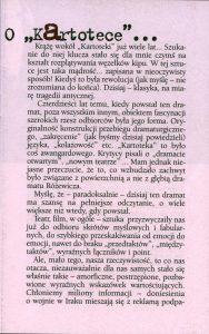 Program sztuki pt. Kartoteka Tadeusza Różewicza, w reżyserii Piotra Łazarkiewicza, Teatr Jeleniogórski Scena Dramatyczna im. C. K. Norwida, oprac. graf.: Wojciech Liebner, Jelenia Góra 2002 r.