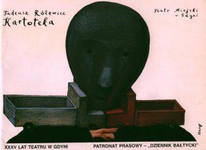 Okładka (wg projektu plakatu Eidrigeviciusa Stasysa) programu sztuki pt. Kartoteka Tadeusza Różewicza, w reżyserii Jarosława Kiliana, wystawianej na deskach Teatru Miejskiego w Gdyni z okazji obchodów XXXV-lecia istnienia sceny, 1994 r.