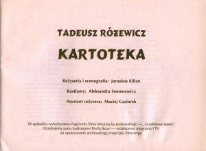 Strona tytułowa programu sztuki pt. Kartoteka Tadeusza Różewicza, w reżyserii Jarosława Kiliana, Teatr Miejski w Gdyni, 1994 r.