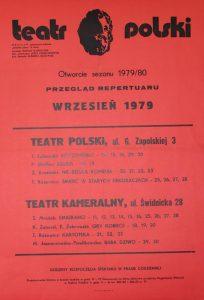 Kartoteka Tadeusza Różewicza w repertuarze Teatru Polskiego – Teatr Kameralny na sezon 1979/80, Wrocław 1979 r. (afisz)