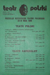 Kartoteka Tadeusza Różewicza w repertuarze Teatru Polskiego – Teatr Kameralny, Wrocław 1980 r. (afisz)
