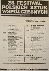 Dramat Tadeusza Różewicza pt. Kartoteka na afiszu programowym 28 Festiwalu Polskich Sztuk Współczesnych, Wrocław 1989 r.