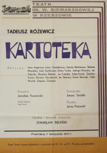 Kartoteka Tadeusza Różewicza, reżyseria Jarosław Kuszewski, Teatr im. W. Siemaszkowej w Rzeszowie, 1971 r. (afisz)