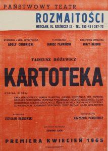 Kartoteka Tadeusza Różewicza, reżyseria Zdzisław Dąbrowski, Państwowy Teatr Rozmaitości we Wrocławiu, 1965 r. (afisz)