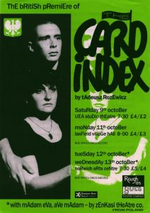 Ulotka informacyjna o brytyjskiej premierze sztuki Tadeusza Różewicza pt. The Card Index (Kartoteka), Rough as Guts Theatre Company, Norwich [1993] r. (awers)