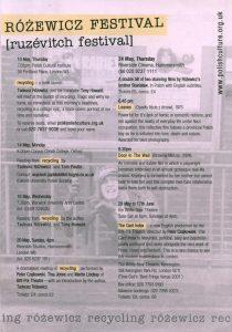 The Card Index (Kartoteka) Tadeusza Różewicza, w reżyserii Petera Czajkowskiego, na ulotce z repertuarem Różewicz Festival [ruzévitch festival], Brit-Pol Theatre, London [2001] r. (rewers)