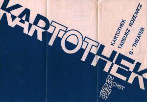 Die Kartothek (Kartoteka) Tadeusza Różewicza, w reżyserii Tadeusza Łomnickiego, B-Theater, [Berlin] 1987 r. [niemieckojęzyczny informator w formie harmonijki; awers]