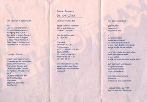Die Kartothek (Kartoteka) Tadeusza Różewicza, w reżyserii Tadeusza Łomnickiego, B-Theater, [Berlin] 1987 r. [niemieckojęzyczny informator w formie harmonijki; rewers]