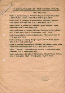 Propozycja programowa VI Festiwalu Teatralnego w XX-lecie Wyzwolenia Wrocławia, 1965 r.