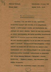 Recenzja radiowa Tadeusza Banasia, pt. Po festiwalu, przygotowana po zakończeniu VI Festiwalu Teatralnego w XX-lecie Wyzwolenia Wrocławia, 1965 r.