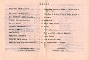Obsada aktorska zamieszczona w programie sztuki pt. Kartoteka T. Różewicza, w reżyserii Janusza Kozłowskiego, Państwowy Teatr Dolnośląski w Jeleniej Górze, 1972 r.