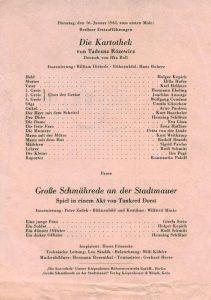 Ulotka z obsadą aktorską do sztuki T. Różewicza pt. Die Kartothek (Kartoteka),w reżyserii Williama Dieterle, Schiller-Theater Werkstatt, Berlin-Charlottenburg, 1962 r. (awers)