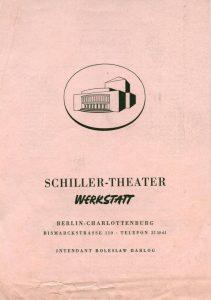 Ulotka z obsadą aktorską do sztuki T. Różewicza pt. Die Kartothek (Kartoteka),w reżyserii Williama Dieterle, Schiller-Theater Werkstatt, Berlin-Charlottenburg, 1962 r. (rewers)