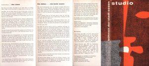 Die Kartothek (Kartoteka) Tadeusza Różewicza, w reżyserii Joachima Fontheima, Bühnen der Stadt Essen, 1962 r. [Informator do sztuki w formie harmonijki; rewers]