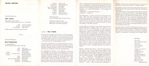 Die Kartothek (Kartoteka) Tadeusza Różewicza, w reżyserii Joachima Fontheima, Bühnen der Stadt Essen, 1962 r. [Informator do sztuki w formie harmonijki; awers]